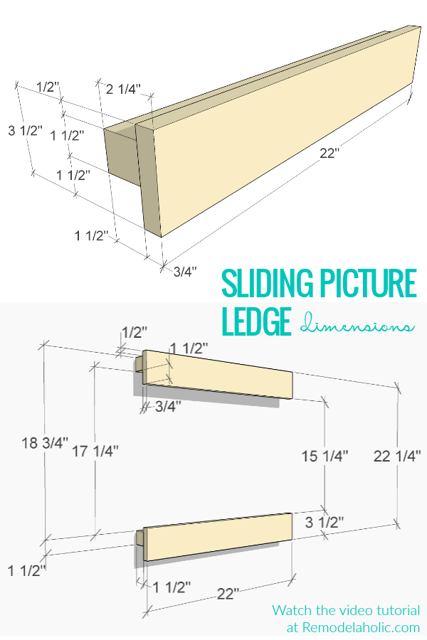 Building Plan And Sliding Picture Ledge Dimensions Video Tutorial #remodelaholic