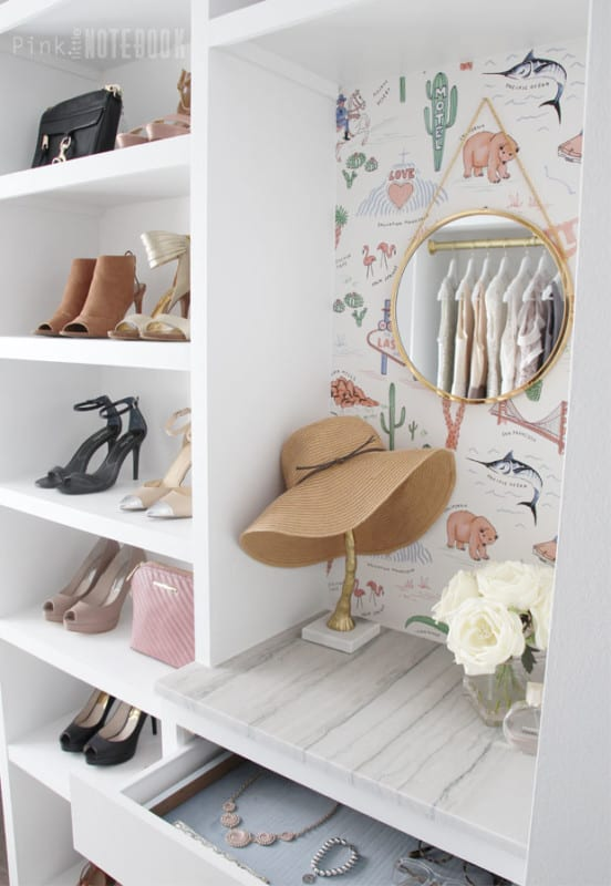 Custom Walk In Closet Organizer DIY, Pink Little Notebook Featured On #Remodelaholic