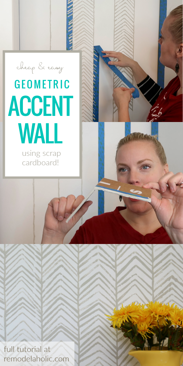How To Stamp Your Own Cheap And Easy Geometric Accent Wall In A Herringbone Pattern Without A Stencil #remodelaholic