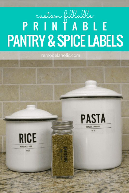Instant Digital Download Custom Fillable Printable Pantry And Spice Labels #remodelaholic
