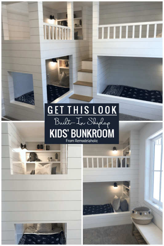 Built In Shiplap Bunkbeds In Kids' Bunkroom Featured On Remodelaholic