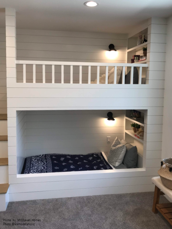 Built In Bunkbeds With Shiplap Finish Home By Millhaven Homes And Four Chairs Design 2018 Utah Valley Parade Of Homes Featured On Remodelaholic