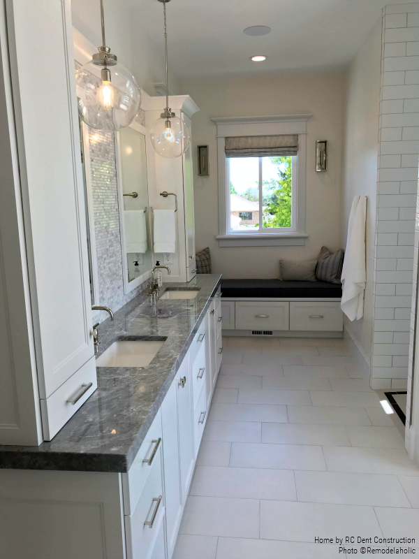 Modern Master Bathroom In Gray And White in at Timeless Traditional Home| RC Dent Construction And Remedy Furniture And Design, Utah Valley Parade Of Homes Featured On #Remodelaholic #hometour #getthislook