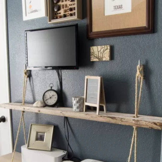Nautical Organization Easy DIY Floating Rope Shelf