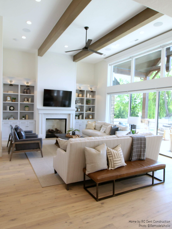 Neutral Colored Family Room With Mixed Style Furniture in a Timeless Traditional Home | RC Dent Construction And Remedy Furniture And Design, Utah Valley Parade Of Homes Featured On #Remodelaholic #getthislook #hometour