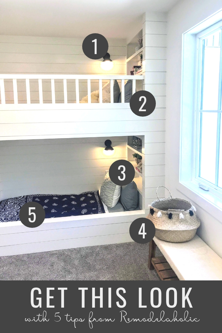 Get This Look: Modern Farmhouse Kids' Bunk Room | A neutral palette and crisp modern farmhouse style make this bunk room perfect for a shared kids room for boys and girls! Home built by Millhaven Homes, photos by #Remodelaholic #getthislook #modernfarmhouse