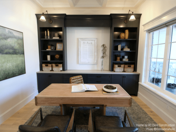 Simple Modern Home Office in a Timeless Traditional Home | RC Dent Construction And Remedy Furniture And Design, Utah Valley Parade Of Homes Featured On #Remodelaholic #hometour #getthislook