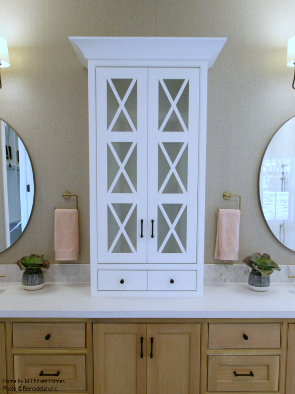 White Countertop Bathroom Cabinet In Modern Farmhouse Master Bathroom, Millhaven Homes And Four Chairs Design, 2018 Utah Valley Parade Of Homes Featured On Remodelaholic