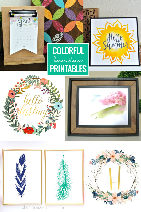 Add some fresh spring style with these colorful printables for home decor, great for chasing away the winter grays and adding color to your year-round decorating on a mantel, shelf, or gallery wall. #remodelaholic #printableartcollection
