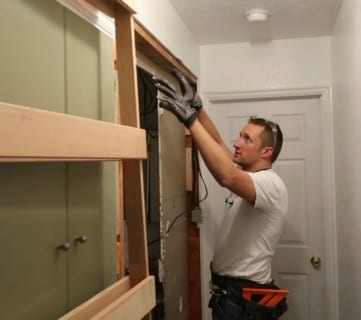 How To Install A Pocket Door Frame And Convert Your Existing Door And Wall Space #remodelaholic