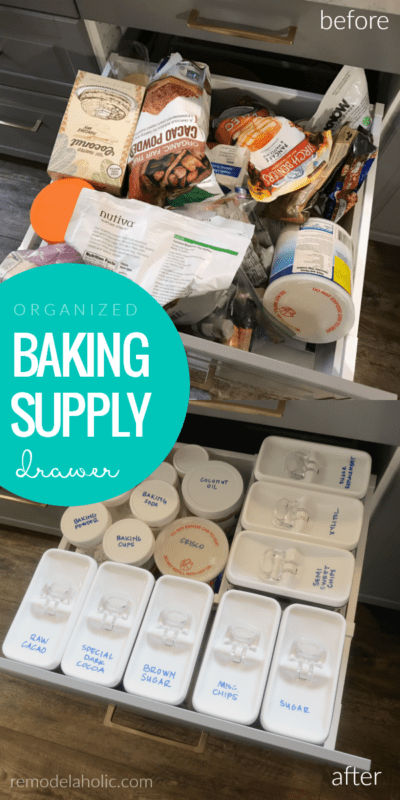 How To Organize Baking Supplies In A Deep Drawer As A Pantry Alternative For A Small Kitchen #remodelaholic