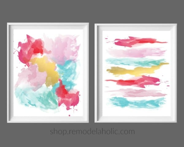 Pink Red Yellow Aqua Blue Abstract Brushstroke Art Print Set #remodelaholic Instant Download