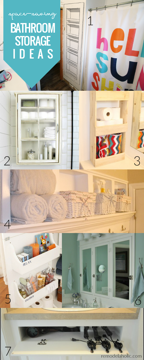 Space Saving Bathroom Storage Ideas For Built In Shelves And More #remodelaholic