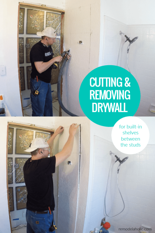 Tips For Cutting And Removing Drywall For Between The Studs In Wall Built In Shelf Cubbies #remodelaholic