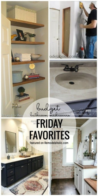 Get A New Bathroom Look With One Of These Budget Makeover Ideas. Budget Bathroom Makeovers Featured On Friday Favorites At Remodelaholic.com