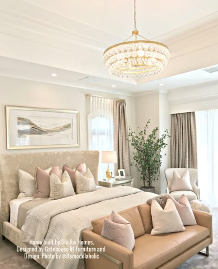 Glam Master Bedroom With Camel And Blush Shelby Homes, Gatehouse No. 1 Furniture & Design (488).ed