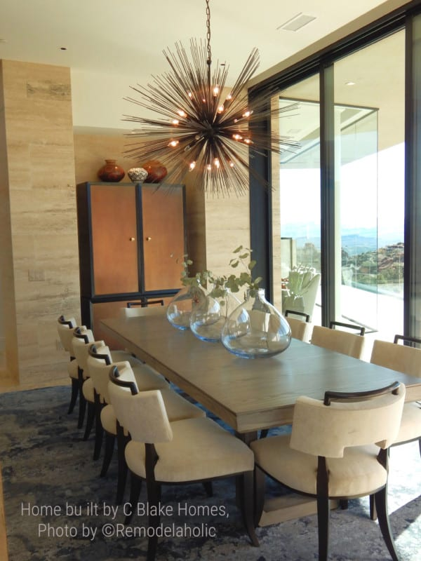 Modern style light fixture in the dining room. SGPH 2018 Home 4 C Blake Homes, Photo by Remodelaholic