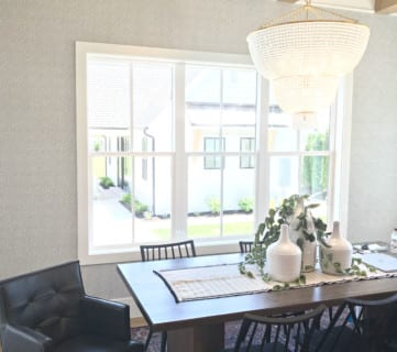 Simple Modern Farmhouse Dining Room Millhaven Homes, Four Chairs Furniture & Design (135)