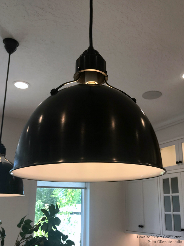 Black Dome Lighting Over Kitchen Island In Modern Farmhouse Kitchen RC Dent Construction And Remedy Design 2018 Utah Valley Parade Of Homes Featured On Remodelaholic