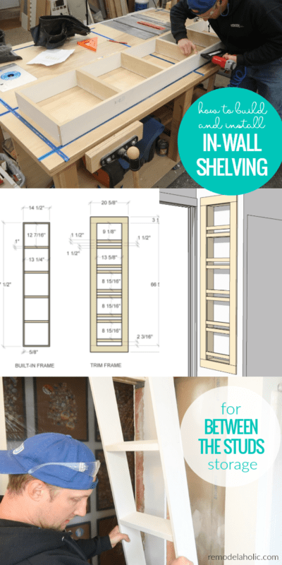 How To Build And Install In Wall Shelving For Built In Between The Studs Storage In A Small Bathroom #remodelaholic