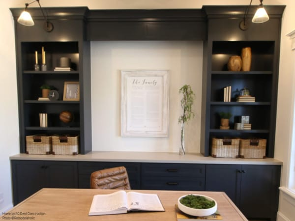 How To Decorate Home Office Built In Shelving RC Dent Construction And Remedy Furniture And Design Utah Valley Parade Of Homes Featured On Remodelaholic