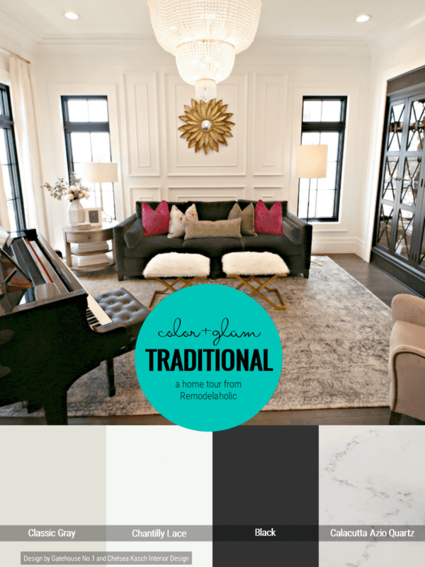 Traditional Style Home In White, Gray And Black With Added Pops Of Color In The Decor
