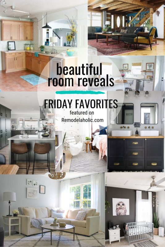 It is always fun to see before and afters of room makeovers. This week we are featuring a bunch of our favorite beautiful room reveals featured on Friday Favorites at Remodelaholic.com #roomreveal #roommakeovers #home #diymakeovers #roomremodels