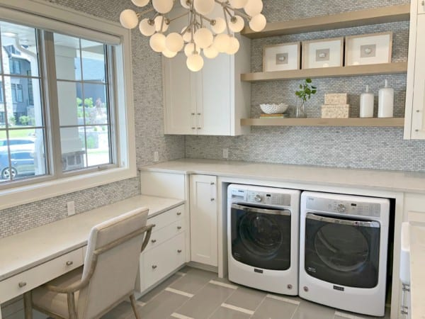 Laundry Room With Tile Walls And Floating Shelves UVPH 2018 Home 33 E Builders, Erin Hansen Design (189).ed