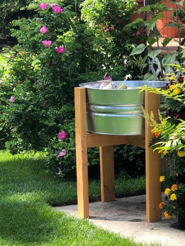 Beverage Stand Diy Wood Metal Tub