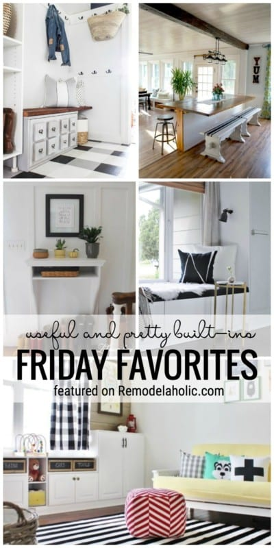 Built-ins are the perfect way to add extra storage and functionality to your home in a beautiful way. Check out all of these useful and pretty built-in ideas featured on Friday Favorites at Remodelaholic.com