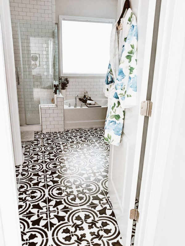 Crafted By The Hunts Painted Tile Bathroom Makeover