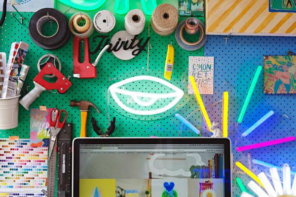 Jade Green Pegboard In Home Office Craft Room