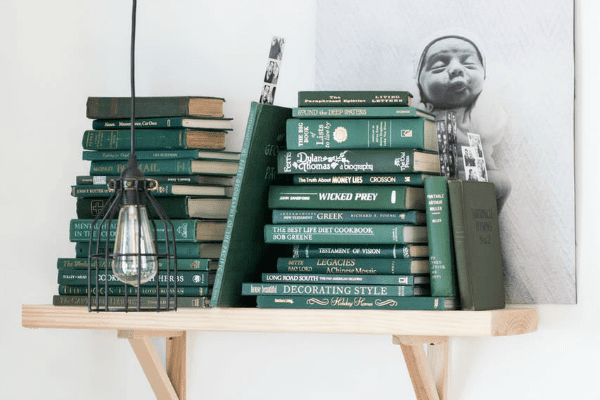 Jade Green monochromatic Bookshelf Home Decor Ideas