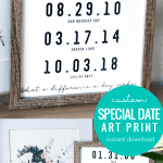 Custom Important Date Art Printable Set With Watercolor Flower Bouquet Print, Instant Dowload Fillable PDF #remodelaholic