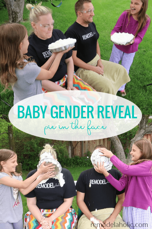 Easy Baby Gender Reveal Idea For Siblings, Colored Pink Or Blue Pie In The Face #remodelaholic