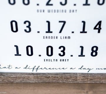 """What a Difference a Day Makes"" Special Date Custom Printable In Wood Frame"