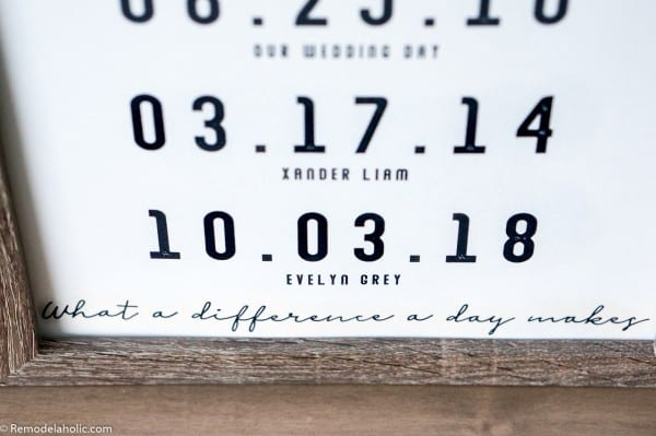 "Printable Love Wall Art Idea: ""What a Difference a Day Makes"" Special Date Custom Printable In Wood Frame"