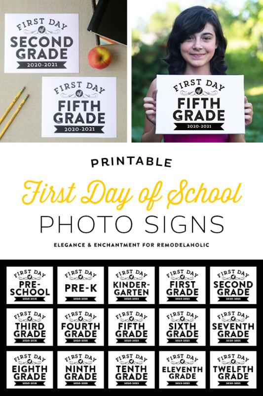 First Day Of School Signs Printable Pre K, K 12, Homeschool Signs Remodelaholic
