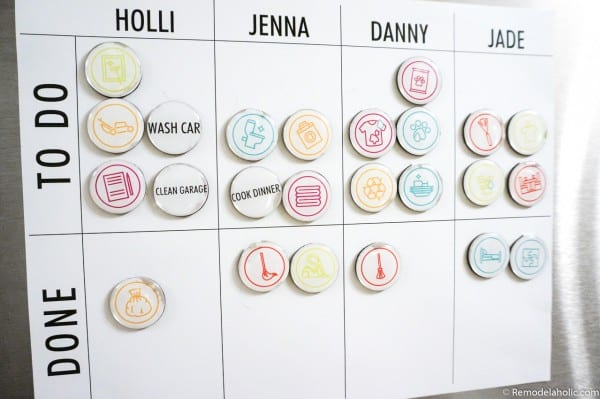 Easy Printable Chore Chart With Editable Magnetic Chore Markers #remodelaholic