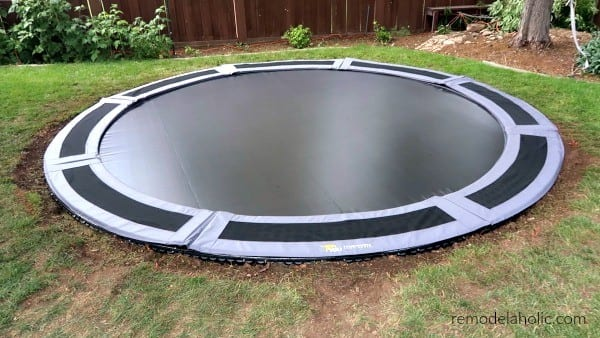 Finished 14 Foot In Ground Trampoline Installation #remodelaholic
