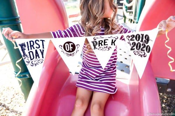 Pennant Flag School Photo Sign Printable First Day Of School #reemodelaholic