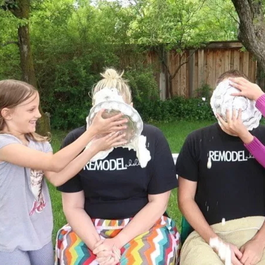 Baby Gender Reavel Idea, Kids Smashing Parents With Pie In The Face With Baby Girl Or Baby Boy Cream