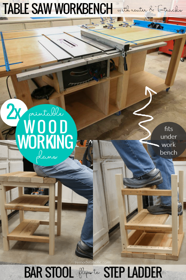 Bundle Table Saw Workbench And Bar Stool Step Ladder Remodelaholic