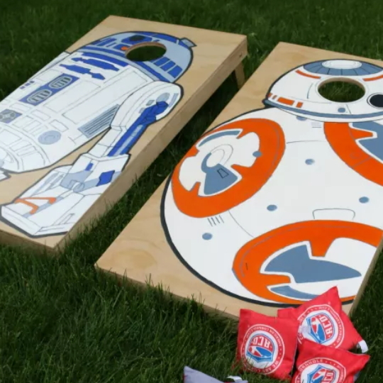 DIY Custom Cornhole Boards With Star Wars Characters Painted On