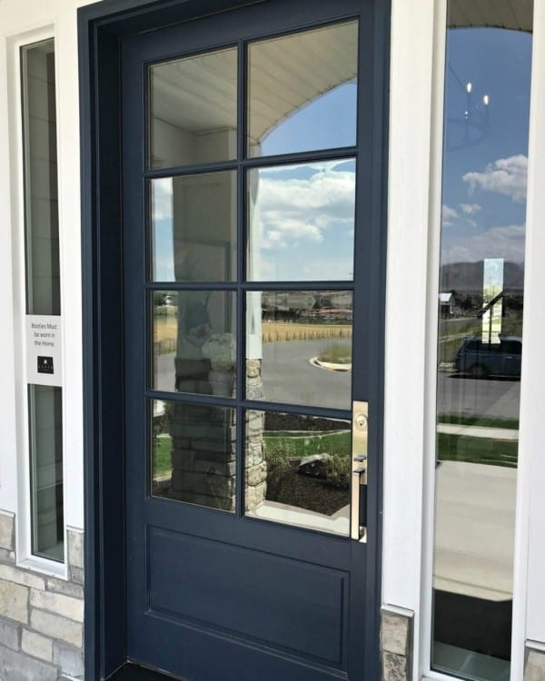 DIY Navy Blue Door With Eight Square Glass Windows