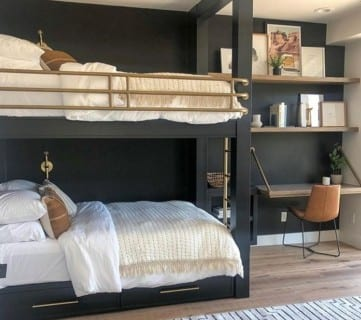 Built In Black Bunk Beds With Gold Accents And Built In Corner Desk