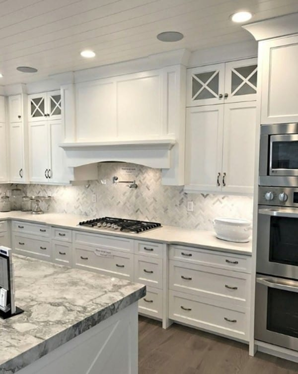 White And Grey Kitchen With White Cabinets And Grey Flooring