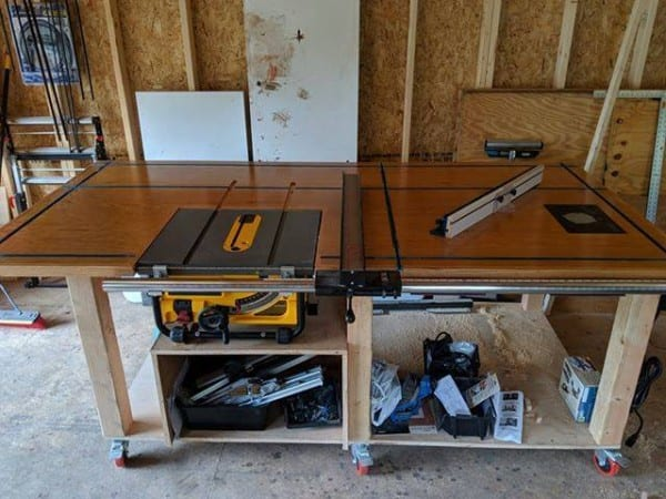 Wooden Workbench With Tools And Shelving Underneath