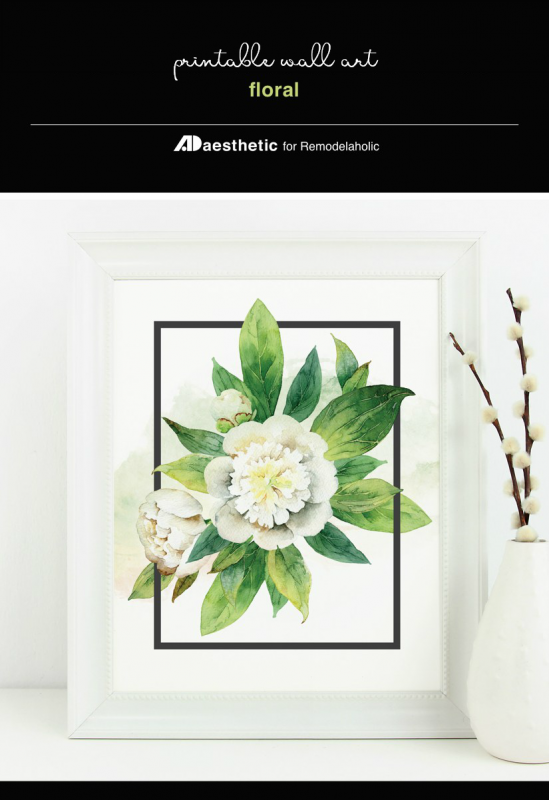 Floral Wall Art Printable, Neutral White Flower With Vibrant Green Leaves, AD Aesthetic For Remodelaholic