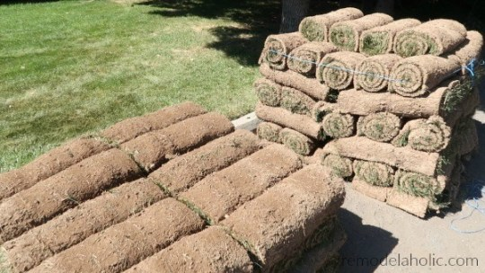 Pallets Of Rolled Sod By Remodelaholic